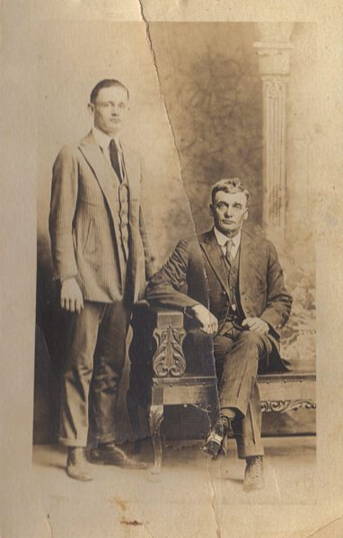 James Dewey Walker with father, John Alexander Walker.  (Photograph provided by and in the collection of Johnny Taylor, Marshall, TX, 2017)