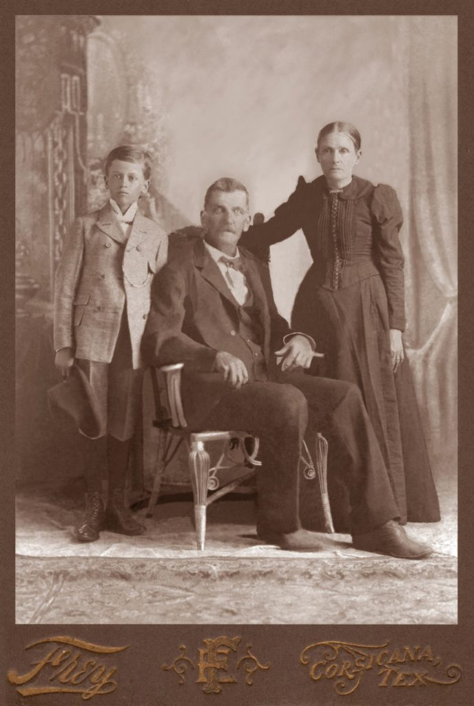 James Berry Walker (seated) with his youngest son, L.D., and his wife, Sarah Ann Parker Stills Walker, circa 1890. (Photograph provided by and in the collection of Johnny Taylor, Marshall, TX, 2017)