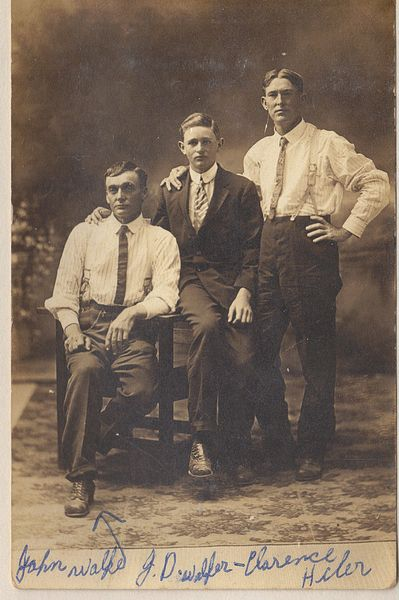 John A. Walker, James D. Walker, Clarence Hiler.  (Photograph provided by and in the collection of Johnny Taylor, Marshall, TX, 2017)
