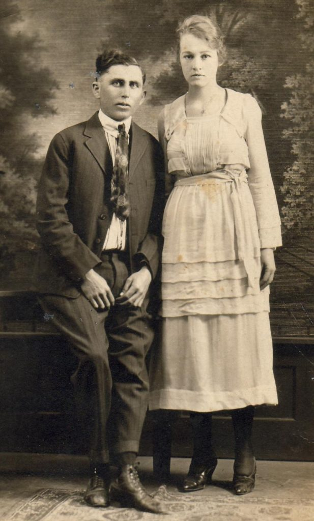 Wedding photo of Harvey Smithen & Myrtle Walker, 1920.   (Photograph provided by and in the collection of Johnny Taylor, Marshall, TX, 2017)